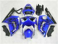 2003-2004 Kawasaki ZX6R Black Flame/Blue Fairings | NK60304-13