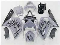2003-2004 Kawasaki ZX6R Black Flame/Grey Fairings | NK60304-17