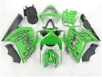 2003-2004 Kawasaki ZX6R Black Flame/Green Fairings | NK60304-3