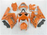 2003-2004 Kawasaki ZX6R Black Flame/Orange Fairings | NK60304-5