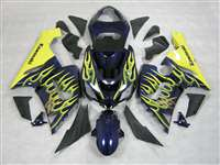 2005-2006 Kawasaki ZX6R Yellow Flames on Blue Fairings | NK60506-20