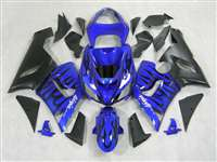 2005-2006 Kawasaki ZX6R Black Flame on Blue Fairings | NK60506-35