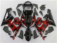 2005-2006 Kawasaki ZX6R Red Tribal Fairings | NK60506-47