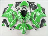 2007-2008 Kawasaki ZX6R White Fire on Green Fairings | NK60708-14