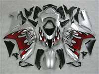 2007-2008 Kawasaki ZX6R Silver/Red Flame Fairings | NK60708-15