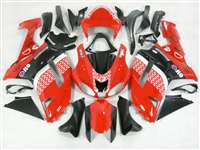 2007-2008 Kawasaki ZX6R Red/Black Race Style Fairings | NK60708-16