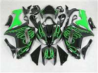 2007-2008 Kawasaki ZX6R Green Flames Fairings | NK60708-19