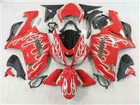 2007-2008 Kawasaki ZX6R White Fire on Red Fairings | NK60708-2