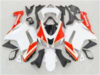2007-2008 Kawasaki ZX6R Neon Red/White Fairings | NK60708-23