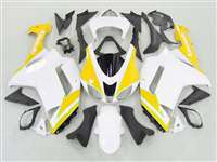 2007-2008 Kawasaki ZX6R Neon Yellow/White Fairings | NK60708-27