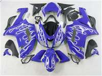 2007-2008 Kawasaki ZX6R White Fire on Blue Fairings | NK60708-3