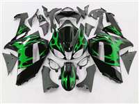 2007-2008 Kawasaki ZX6R Metallic Green Tribal Fairings | NK60708-31