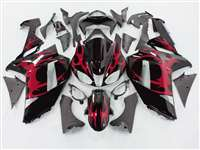 2007-2008 Kawasaki ZX6R Metallic Red Tribal Fairings | NK60708-32
