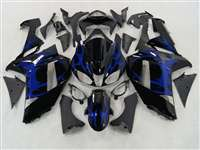 2007-2008 Kawasaki ZX6R Metallic Blue Tribal Fairings | NK60708-33