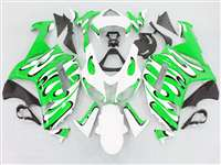 2007-2008 Kawasaki ZX6R Green/White Splash Fairings | NK60708-34
