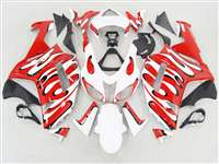 2007-2008 Kawasaki ZX6R Red/White Splash Fairings | NK60708-35