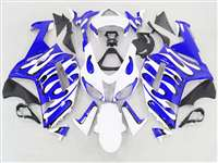 2007-2008 Kawasaki ZX6R Blue/White Splash Fairings | NK60708-36
