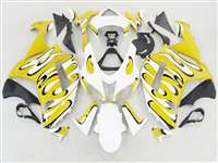 2007-2008 Kawasaki ZX6R Yellow/White Splash Fairings | NK60708-37