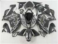 2007-2008 Kawasaki ZX6R White Fire on Black Fairings | NK60708-4