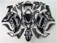 2007-2008 Kawasaki ZX6R White Tribal Fairings | NK60708-8