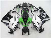 2009-2012 Kawasaki ZX6R White/Black/Green Fairings | NK60912-1