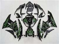 2009-2012 Kawasaki ZX6R Green Flame Fairings | NK60912-2