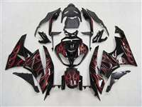2009-2012 Kawasaki ZX6R Red Flames Fairings | NK60912-3
