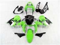 White/Green 2002-2003 Kawasaki ZX9R Motorcycle Fairings | NK90203-1
