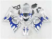 2004-2005 Suzuki GSXR 600 750 Silver/Blue Tribal Fairings | NS60405-19