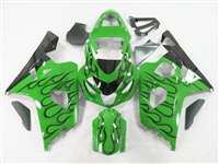 2004-2005 Suzuki GSXR 600 750 Black Fire on Green Fairings | NS60405-3