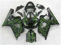 2004-2005 Suzuki GSXR 600 750 Green Flames Fairings | NS60405-32