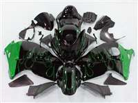 1999-2007 Suzuki GSXR 1300 Hayabusa Green Flame on Black Fairings | NSH9907-116