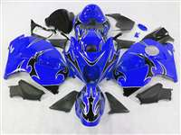 Black Tribal on Blue 1999-2007 Suzuki GSXR 1300 Hayabusa Motorcycle Fairings | NSH9907-13