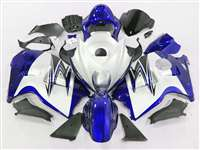 1999-2007 Suzuki GSXR 1300 Hayabusa Blue on White Fairings | NSH9907-3