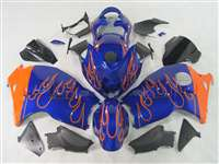 Orange Flame on Blue 1999-2007 Suzuki GSXR 1300 Hayabusa Motorcycle Fairings | NSH9907-33