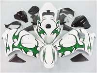 1999-2007 Suzuki GSXR 1300 Hayabusa Green Tribal on White Fairings | NSH9907-38