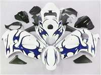 1999-2007 Suzuki GSXR 1300 Hayabusa Blue Tribal on White Fairings | NSH9907-39