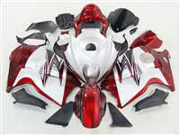 1999-2007 Suzuki GSXR 1300 Hayabusa Red on White Fairings | NSH9907-4