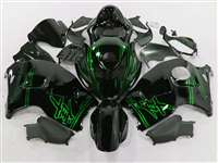 1999-2007 Suzuki GSXR 1300 Hayabusa Green Airbrush on Black Fairings | NSH9907-40