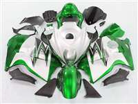 1999-2007 Suzuki GSXR 1300 Hayabusa Green on White Fairings | NSH9907-5