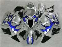 1999-2007 Suzuki GSXR 1300 Hayabusa Blue Tribal on White Fairings | NSH9907-59