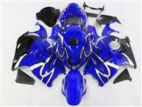 1999-2007 Suzuki GSXR 1300 Hayabusa Silver Tribal on Blue Fairings | NSH9907-6