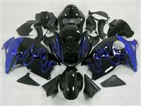 1999-2007 Suzuki GSXR 1300 Hayabusa Black/Blue Flames Fairings | NSH9907-62