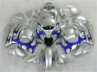 1999-2007 Suzuki GSXR 1300 Hayabusa Blue Tribal on Silver Fairings | NSH9907-68