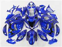 1999-2007 Suzuki GSXR 1300 Hayabusa Black Tribal on Blue Fairings | NSH9907-79