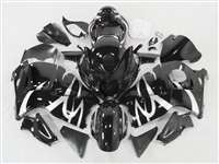 1999-2007 Suzuki GSXR 1300 Hayabusa Silver Tribal on Black Fairings | NSH9907-92