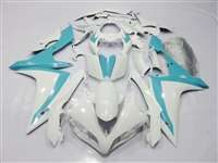 White/Teal 2007-2008 Yamaha YZF R1 Motorcycle Fairings | NY10708-28