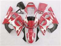 1998-2002 Yamaha YZF R6 Red/Silver Tribal Fairings | NY69802-38