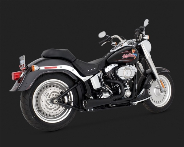 Harley Softail '00-Current Black Competition Series 2-Into-1 Exhaust by  Vance & Hines