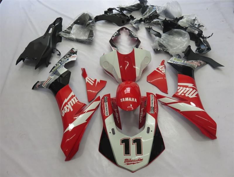 2015-2017 Milwaukee Yamaha YZF R1 Red/White Fairings
